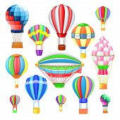 Air Balloon Vector Cartoon Air-balloon Or Aerostat With Basket Flying In Sky And Ballooning Adventur poster