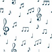 Music Notes Pattern. Music Doodles Background. Piano Keys. Treble Clef. Hand Drawn Effect Vector. G- poster