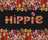 T shirt design on black background with colorful floral seamless border and hippie flowers lettering poster