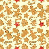 Christmas Seamless Pattern With Ginger Cookies: Ginger Man, Ginger House, Ginger Woman, Ginger Star, poster