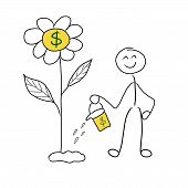 Stick Man Money Investment Concept. Investment Pays Off. Stickman Watering Flower Where Money Grow poster