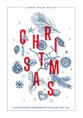 Modern Vector Christmas Card Template With Various Handdrawn Christmas Elements poster