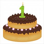 foto of birthday-cake  - Birthday Cake With Candles With Number One - JPG