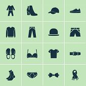 Garment Icons Set With Trousers, Gumshoes, Scarf And Other Sneakers Elements. Isolated Vector Illust poster