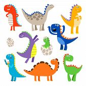 Cute Dinosaurs. Baby Cartoon Smiling Dinosaur Animals Isolated On White Background, Vector Illustrat poster