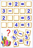 Logical Math Exercises For Kids. Need To Find The Missing Details, Solved Examples And Write The Num poster