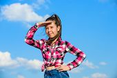 Kid Girl Checkered Fashionable Shirt Posing Sunny Day Blue Sky Background. Child Cute Girl Long Hair poster