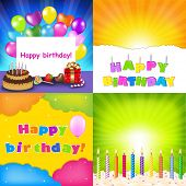 stock photo of happy birthday  - Happy Birthday Card Set - JPG