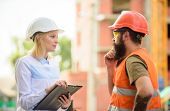 Discuss Progress Project. Construction Project Inspecting. Safety Inspector Concept. Woman Inspector poster