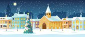 Snowy Night In Cozy Christmas Town City Panorama. Snowy Street With Christmas Tree. Winter Christmas poster