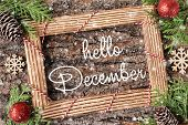 Hello December Lettering Design. Winter Holiday Composition. poster
