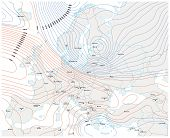 Imaginary Meteorological Vector Weather Map Of Europe. poster