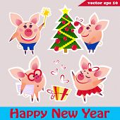 Simple Cartoon Flat Design Sticker Set Of Different Pigs - Dancing Girly Pig, Clever Pig, Magic Wand poster