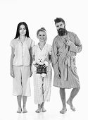 Girls With Bearded Macho In Pajamas And Robe In Morning, Isolated White Background. Man With Beard,  poster