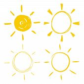Set Of Vector Hand Drawn Icons Of The Sun With Sunbeam. poster