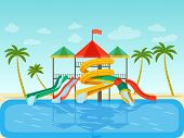 Aqua Park With Sliders, Pool And Palm Trees. Vector Flat Style Illustration poster