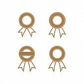 Award Ribbon, Award Ribbon Collection, Emblem Business Award Ribbon, Award Ribbon Vector Image poster