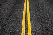 Yellow Double Dividing Lines, Highway Road Marking On Dark Asphalt poster