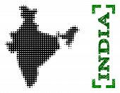 Halftone Map Of India And Scratched Caption. Vector Green Title With Corners And Retro Rubber Textur poster