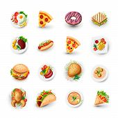 Set Of Fast Food Icons. Junk Food Vector Illustration - Pizza, Donut, Burger, Taco, Chicken And Othe poster