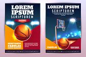 Basketball Tournament Promo Vertical Vector Poster Or Brochure With Basketball Ball And Hoop On Cour poster