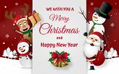 Paper Art, Craft Style Of Christmas Party With Santa Claus, Snowman And Reindeer On Card Invitation, poster