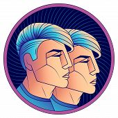 Gemini Zodiac Sign, Astrological Horoscope Symbol. Futuristic Style Icon. Stylized Graphic Portrait  poster