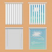 Window Blinds Mockup Set. Vector Realistic Illustration Windows With Open And Close Horizontal And V poster