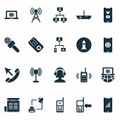 Communication Icons Set With Communication Console, Call Mobile Phone, Communication Tower And Other poster