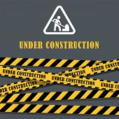 Under Construction Website Page With Black And Yellow Striped Borders Vector Illustration. Border St poster