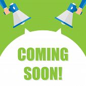 Hand Holding Megaphone With Coming Soon Announcement poster