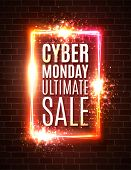 Cyber Monday Banner On Red Brick Wall. Ultimate Sale Background. Rectangle Street Neon Sign. Cyber M poster