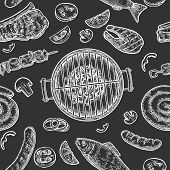 Seamless Pattern Barbecue Grill. Top View Charcoal, Sausage, Fish, Steak. poster