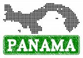 Dotted Map Of Panama And Rubber Caption. Vector Green Title Inside Rounded Rectangle And Retro Rubbe poster