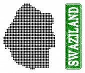 Dotted Map Of Swaziland And Scratched Caption. Vector Green Title Inside Rounded Rectangle And Retro poster
