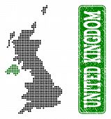 Dotted Map Of United Kingdom And Rubber Caption. Vector Green Title Inside Rounded Rectangle And Gru poster