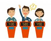 Quiz Show, Game Concept. Players Answering Questions Standing At Stand With Buttons. Vector Flat Ill poster