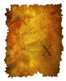 pic of treasure map  - Old paper treasure map with an x marking where the treasure is - JPG