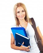 Happy female, young pretty teen student, girl holding books,  portrait of smart cute schoolgirl, bea