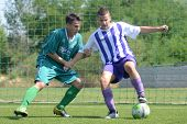 KAPOSVAR, HUNGARY - AUGUST 18: Unidentified soccer players in action at the Hungarian National Champ