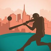 Baseball player silhouette. Vector illustration.