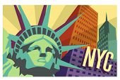 illustrierte Reise Poster von New York City und Statue of Liberty