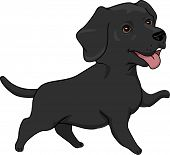 picture of seeing eye dog  - Illustration Featuring a Cute and Playful Black Labrador Retriever - JPG