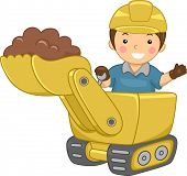 picture of bulldozer  - Illustration of a Smiling Kid Operating a Bulldozer - JPG
