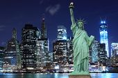 picture of statue liberty  - Manhattan Skyline and The Statue of Liberty at Night - JPG