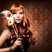 foto of masquerade  - Beautiful Woman with the Carnival mask - JPG