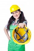 foto of hse  - Woman worker on white - JPG