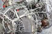 stock photo of gyrocopter  - Motor of helicopter on exhibition - JPG