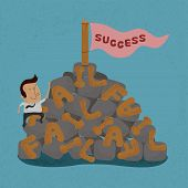 picture of overcoming obstacles  - Businessman moving over the Failure go to success  - JPG