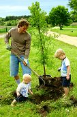 image of helping others  - A father and his two sons - JPG